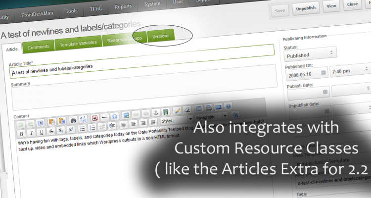 Also integrates with Custom Resource Classes, such as the Revolution 2.2 extra Articles