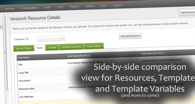 Allows side-by-side comparison for Resources, Templates and Template Variables (more to follow)
