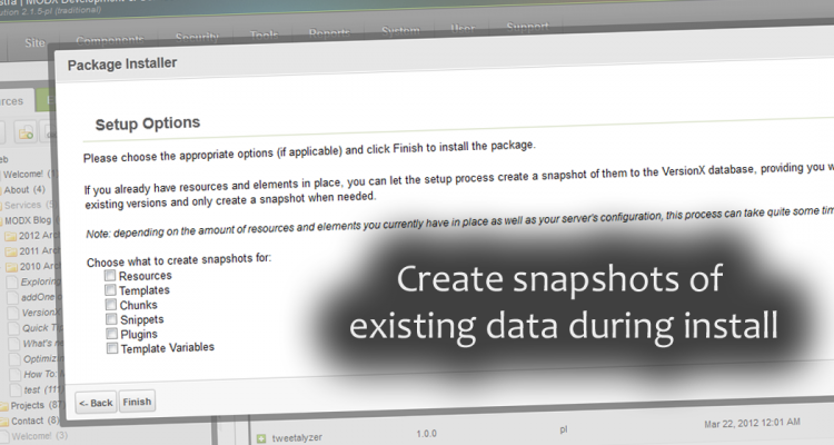 Ability to create snapshot of all existing data during the setup progress to give you a baseline for comparison.