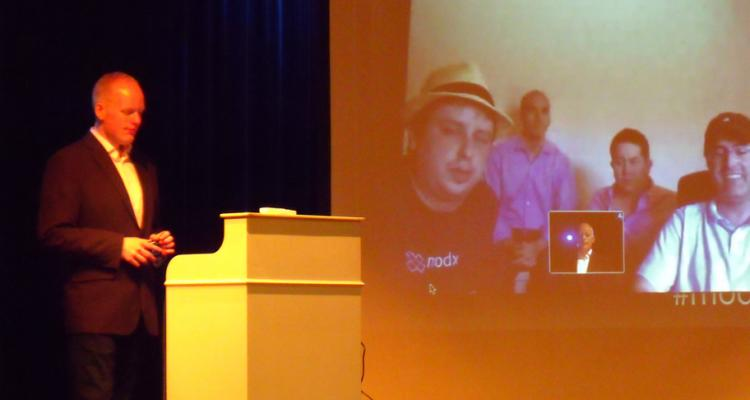 Gauke (left) and the MODX team on the screen via a Skype Video Call (Kevin, Alex, James, Ryan)