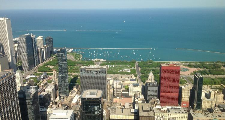 View from Sears' over downtown Chicago, Millenium Park and Lake Michigan